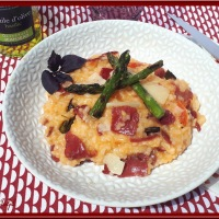 Risotto tomates, asperges et Bresaola