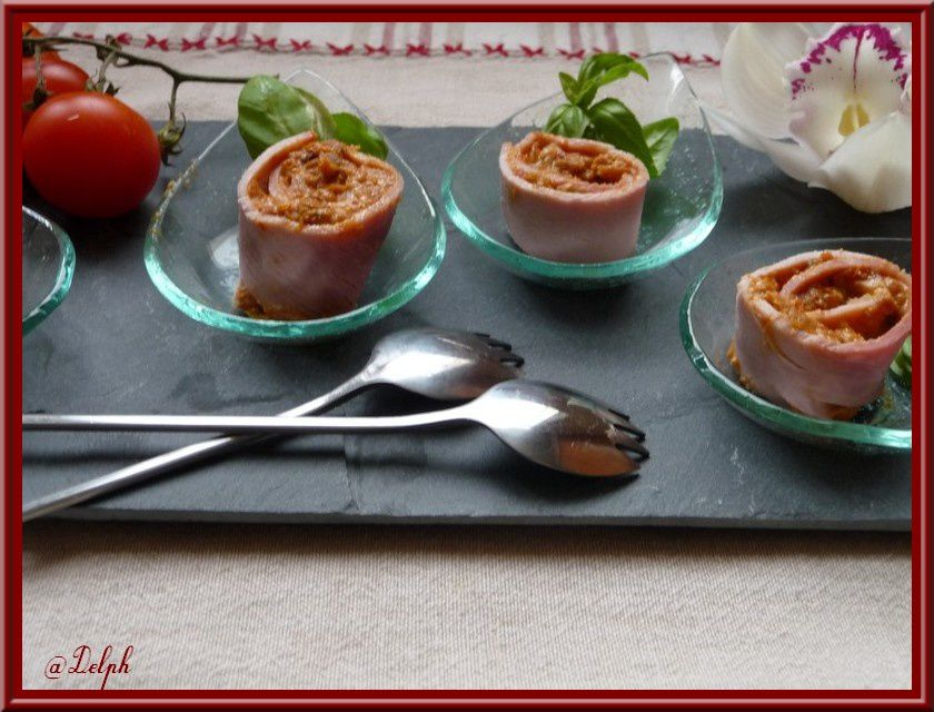 roulade de jambon au pesto de tomate