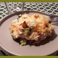 Gratin de pâte aux brocolis et chou-fleur