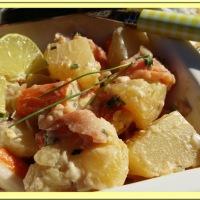 Salade de pommes de terre au saumon et surimi