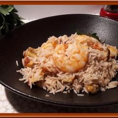 Riz au lait de coco et crevettes