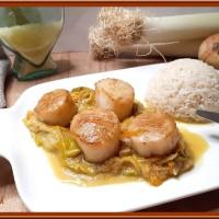 St Jacques à la fondue de poireaux et carotte