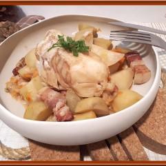 Cabillaud aux lardons pommes de terre et patate douce