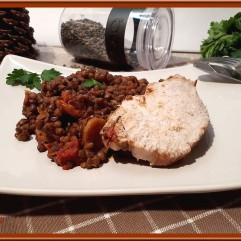 Rôti de porc et lentilles au coulis de tomate au Cookéo
