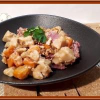 Poêlée de panais, carottes au Saint-marcellin et coppa