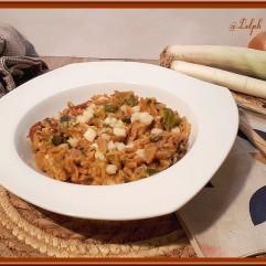 One pot pasta aux poireaux et chorizo