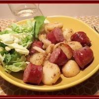 Pommes de terre sautées à la saucisse de Montbéliard au Cookéo