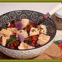Salade de lentilles et légumes au saumon