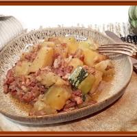Courgette, pommes de terre et lardons au Cookéo