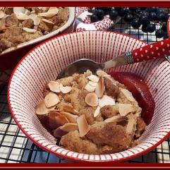 Crumble pommes, raisins, amande